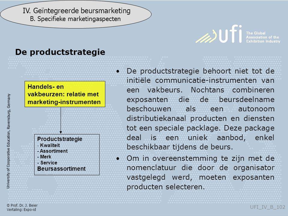 University of Cooperative Education, Ravensburg, Germany UFI_IV_B_102 IV. Geïntegreerde beursmarketing B. Specifieke marketingaspecten © Prof. Dr. J.
