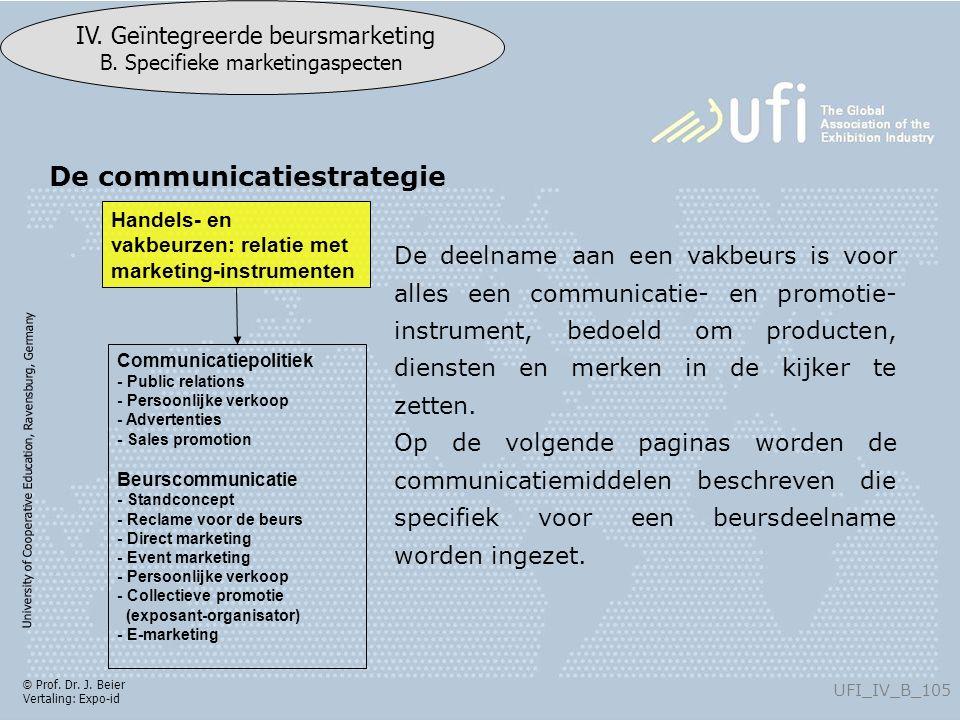 University of Cooperative Education, Ravensburg, Germany UFI_IV_B_105 IV. Geïntegreerde beursmarketing B. Specifieke marketingaspecten © Prof. Dr. J.