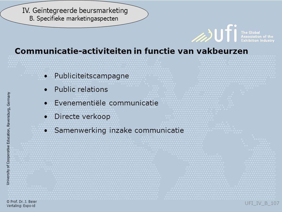 University of Cooperative Education, Ravensburg, Germany UFI_IV_B_107 IV. Geïntegreerde beursmarketing B. Specifieke marketingaspecten © Prof. Dr. J.