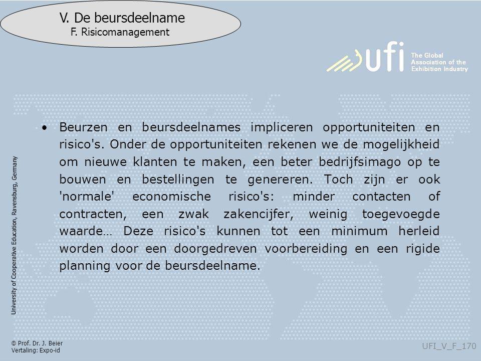 University of Cooperative Education, Ravensburg, Germany UFI_V_F_170 V. De beursdeelname F. Risicomanagement © Prof. Dr. J. Beier Vertaling: Expo-id B