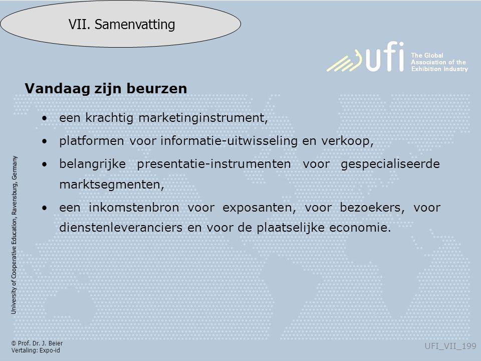 University of Cooperative Education, Ravensburg, Germany UFI_VII_199 VII. Samenvatting © Prof. Dr. J. Beier Vertaling: Expo-id een krachtig marketingi