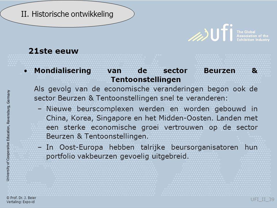 University of Cooperative Education, Ravensburg, Germany UFI_II_39 II. Historische ontwikkeling © Prof. Dr. J. Beier Vertaling: Expo-id Mondialisering