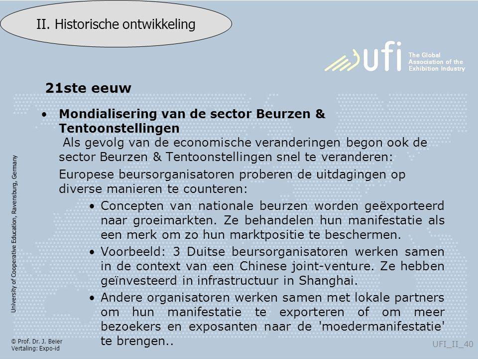 University of Cooperative Education, Ravensburg, Germany UFI_II_40 II. Historische ontwikkeling © Prof. Dr. J. Beier Vertaling: Expo-id Mondialisering