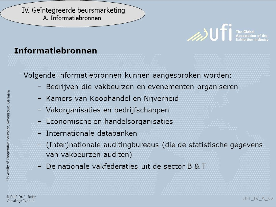 University of Cooperative Education, Ravensburg, Germany UFI_IV_A_92 IV. Geïntegreerde beursmarketing A. Informatiebronnen © Prof. Dr. J. Beier Vertal