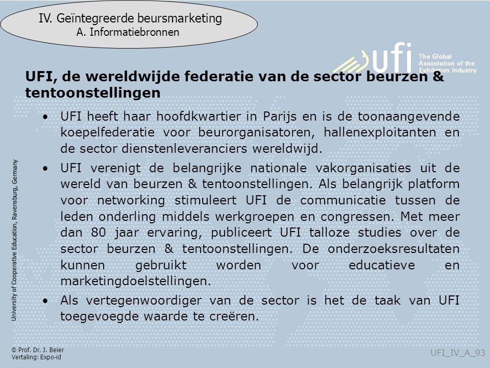 University of Cooperative Education, Ravensburg, Germany UFI_IV_A_93 IV. Geïntegreerde beursmarketing A. Informatiebronnen © Prof. Dr. J. Beier Vertal