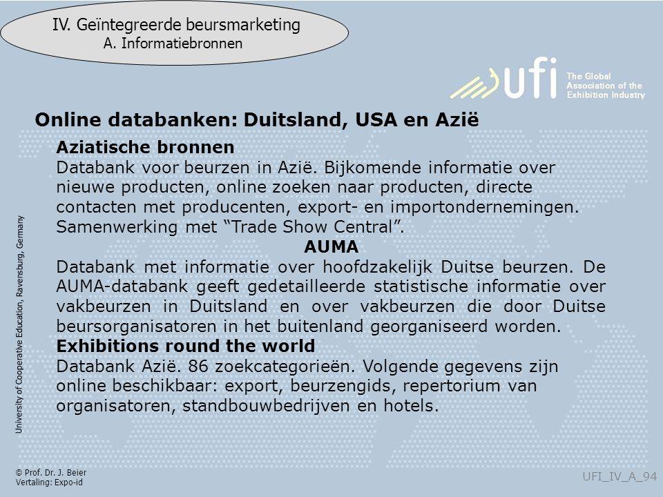University of Cooperative Education, Ravensburg, Germany UFI_IV_A_94 IV. Geïntegreerde beursmarketing A. Informatiebronnen © Prof. Dr. J. Beier Vertal