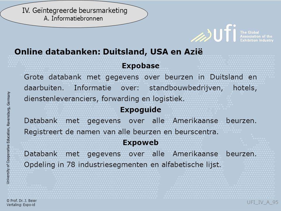University of Cooperative Education, Ravensburg, Germany UFI_IV_A_95 IV. Geïntegreerde beursmarketing A. Informatiebronnen © Prof. Dr. J. Beier Vertal