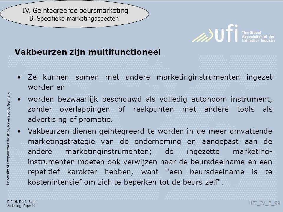 University of Cooperative Education, Ravensburg, Germany UFI_IV_B_99 IV. Geïntegreerde beursmarketing B. Specifieke marketingaspecten © Prof. Dr. J. B