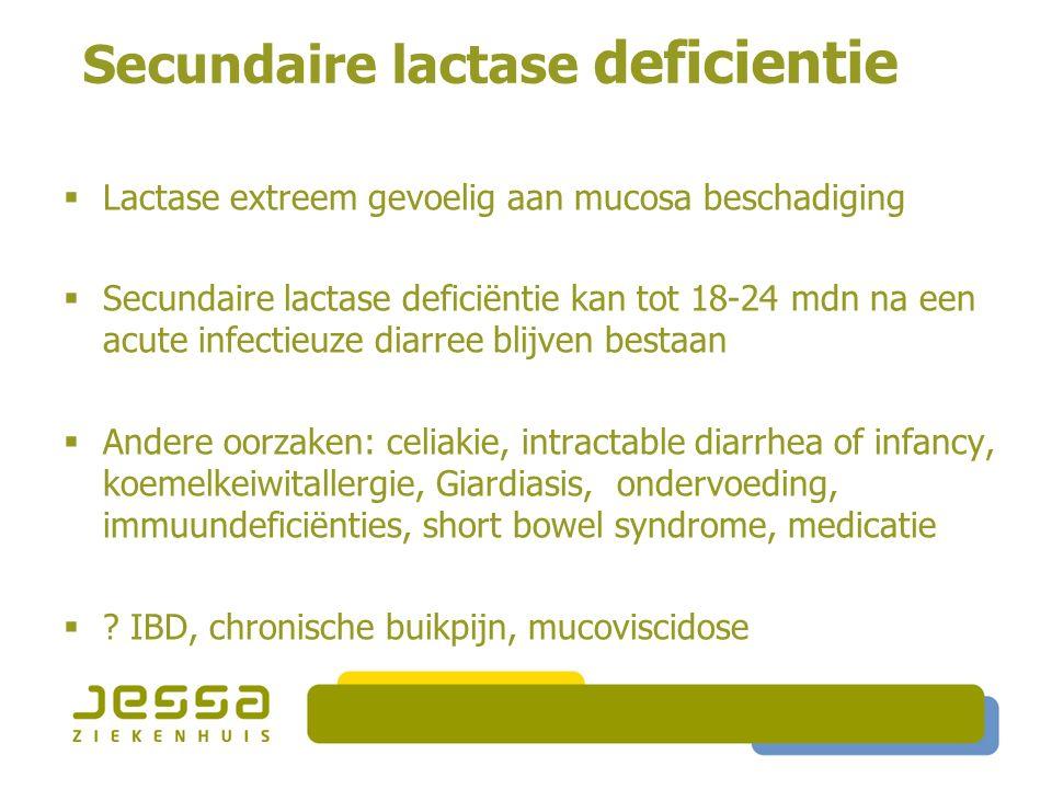 Secundaire lactase deficientie  Lactase extreem gevoelig aan mucosa beschadiging  Secundaire lactase deficiëntie kan tot 18-24 mdn na een acute infe