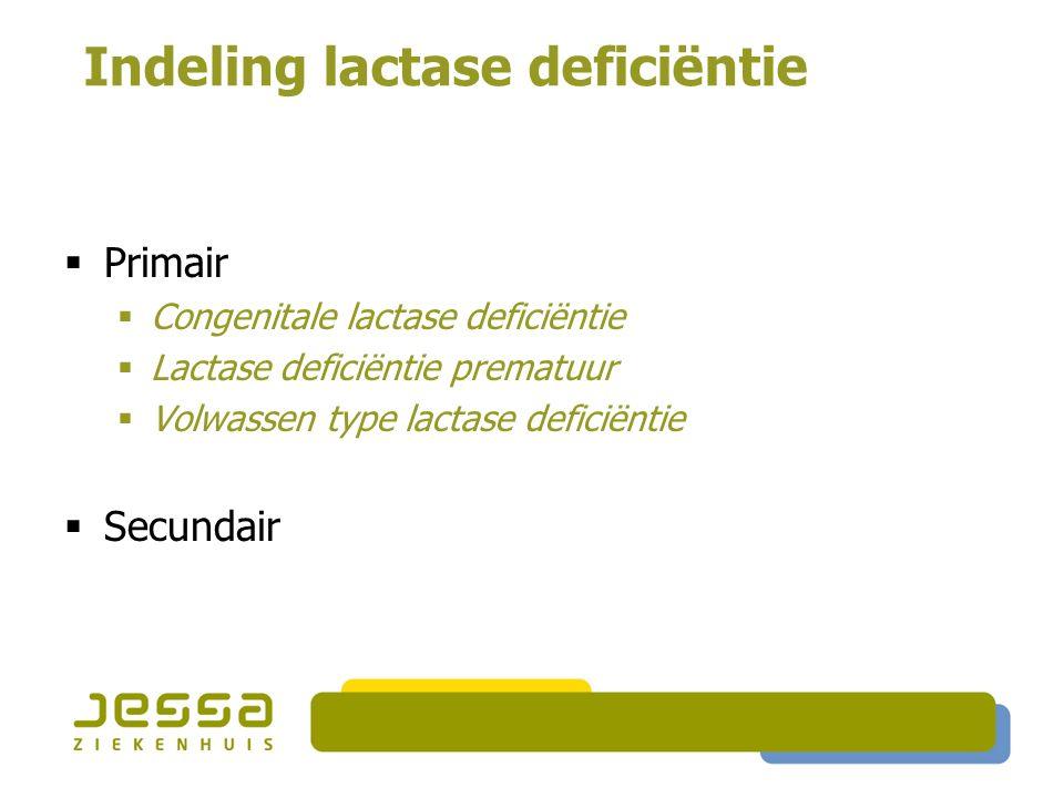 Indeling lactase deficiëntie  Primair  Congenitale lactase deficiëntie  Lactase deficiëntie prematuur  Volwassen type lactase deficiëntie  Secund