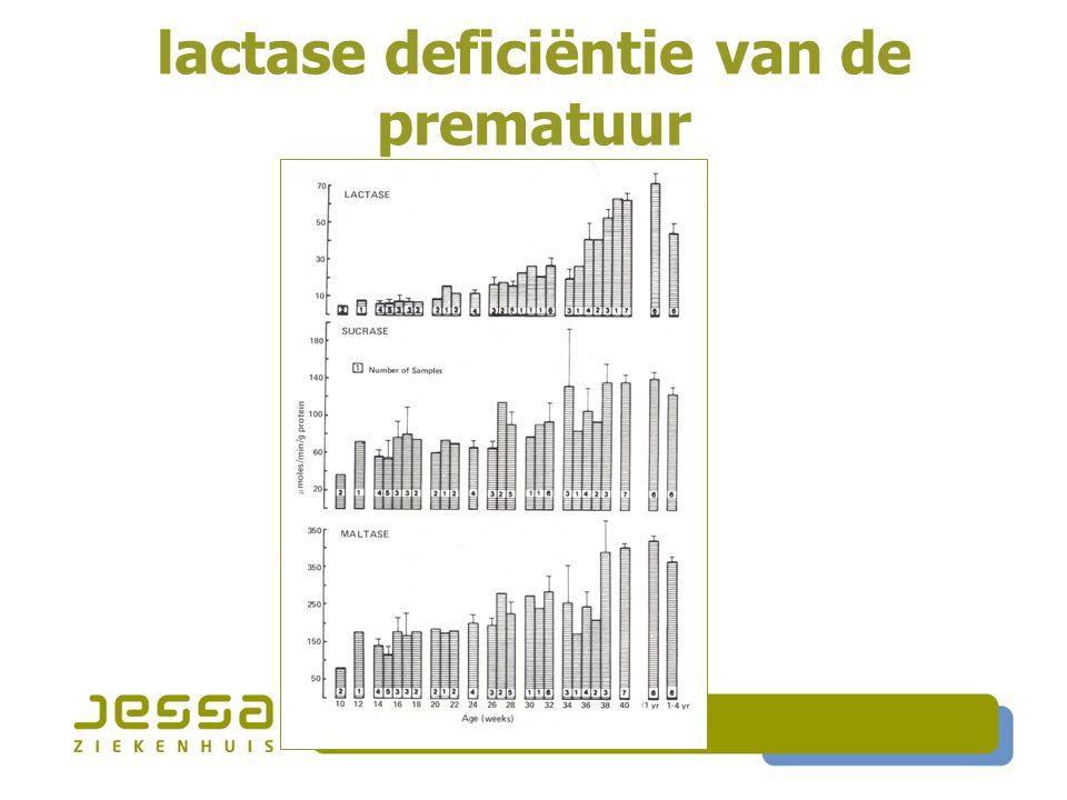  Enzyme vervangende behandeling  Exogeen lactase (Lactose-OK, Lactaid, Kerutab)  Als vloeibare oplossing toevoegen aan melk 1 à 2 u vóór consumptie of low lactose melk  Als tabletten/capsules innemen vóór maaltijd  Yoghurt en probiotica  Yoghurt (L.