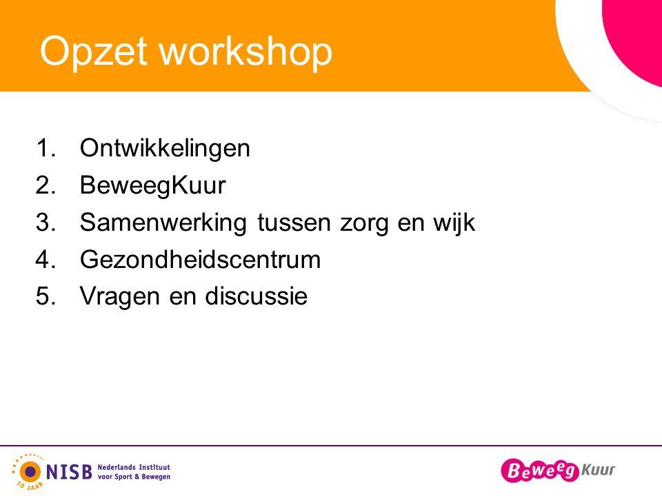 Opzet workshop 1.Ontwikkelingen 2.BeweegKuur 3.Samenwerking tussen zorg en wijk 4.Gezondheidscentrum 5.Vragen en discussie