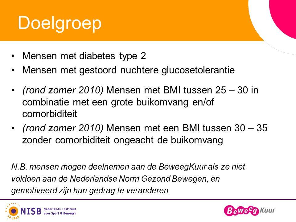 Doelgroep Mensen met diabetes type 2 Mensen met gestoord nuchtere glucosetolerantie (rond zomer 2010) Mensen met BMI tussen 25 – 30 in combinatie met een grote buikomvang en/of comorbiditeit (rond zomer 2010) Mensen met een BMI tussen 30 – 35 zonder comorbiditeit ongeacht de buikomvang N.B.
