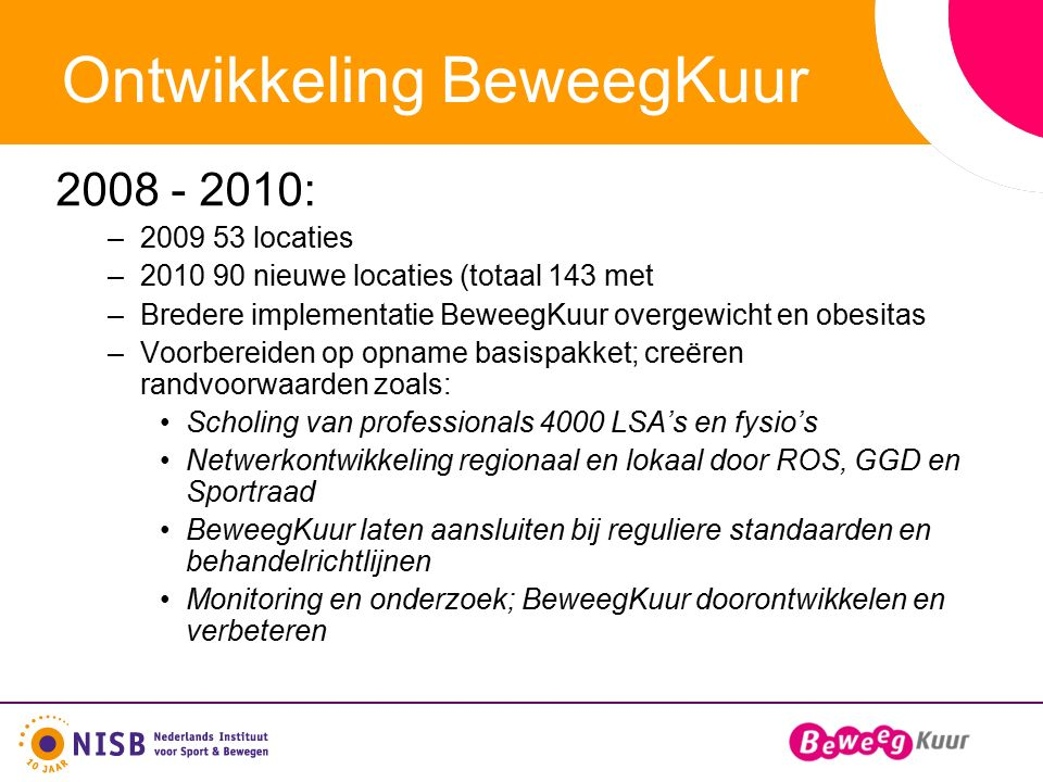Ontwikkeling BeweegKuur 2008 - 2010: –2009 53 locaties –2010 90 nieuwe locaties (totaal 143 met –Bredere implementatie BeweegKuur overgewicht en obesitas –Voorbereiden op opname basispakket; creëren randvoorwaarden zoals: Scholing van professionals 4000 LSA's en fysio's Netwerkontwikkeling regionaal en lokaal door ROS, GGD en Sportraad BeweegKuur laten aansluiten bij reguliere standaarden en behandelrichtlijnen Monitoring en onderzoek; BeweegKuur doorontwikkelen en verbeteren