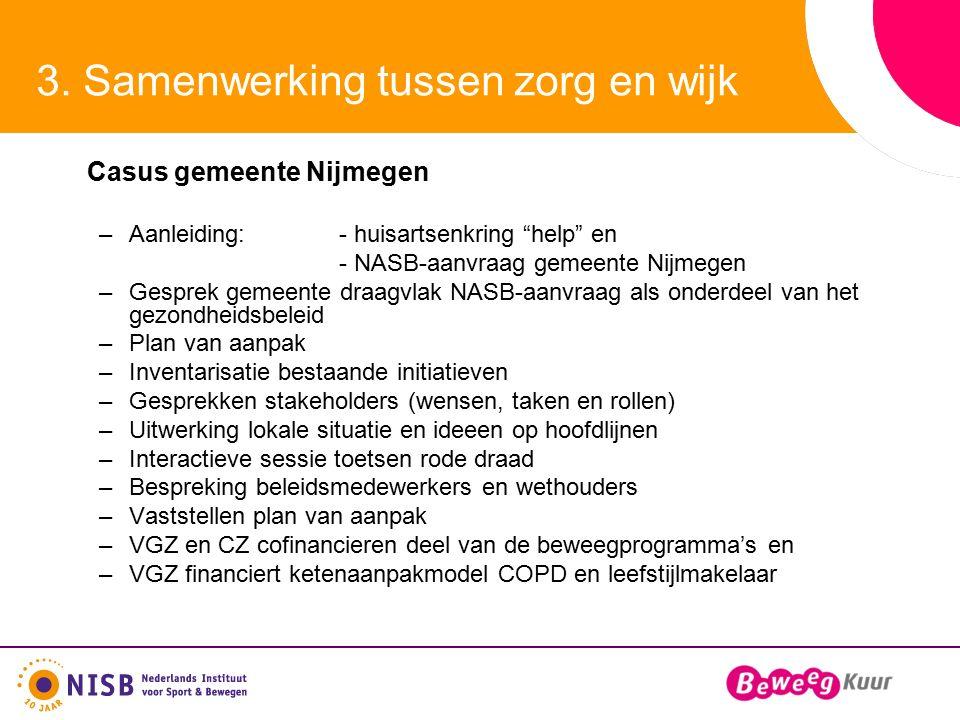 """3. Samenwerking tussen zorg en wijk Casus gemeente Nijmegen –Aanleiding:- huisartsenkring """"help"""" en - NASB-aanvraag gemeente Nijmegen –Gesprek gemeent"""