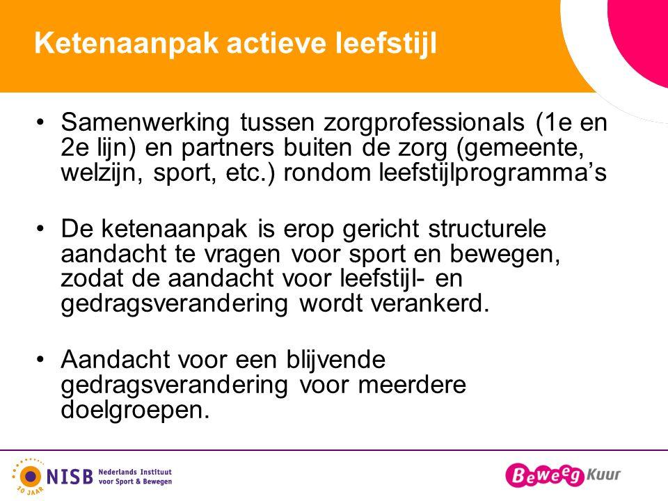 Ketenaanpak actieve leefstijl Samenwerking tussen zorgprofessionals (1e en 2e lijn) en partners buiten de zorg (gemeente, welzijn, sport, etc.) rondom