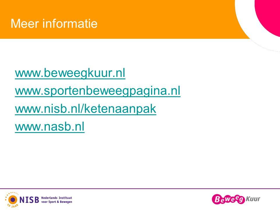 Meer informatie www.beweegkuur.nl www.sportenbeweegpagina.nl www.nisb.nl/ketenaanpak www.nasb.nl