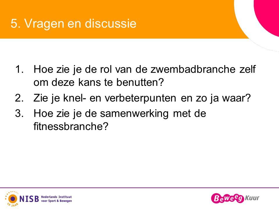 5. Vragen en discussie 1.Hoe zie je de rol van de zwembadbranche zelf om deze kans te benutten.