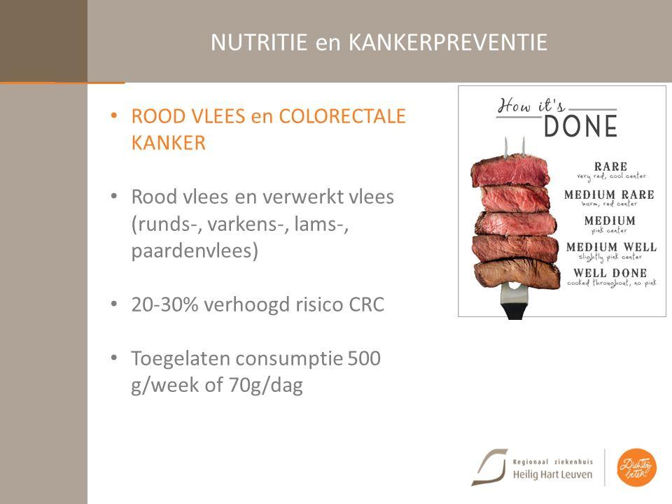 NUTRITIE en KANKERPREVENTIE ROOD VLEES en COLORECTALE KANKER Rood vlees en verwerkt vlees (runds-, varkens-, lams-, paardenvlees) 20-30% verhoogd risico CRC Toegelaten consumptie 500 g/week of 70g/dag