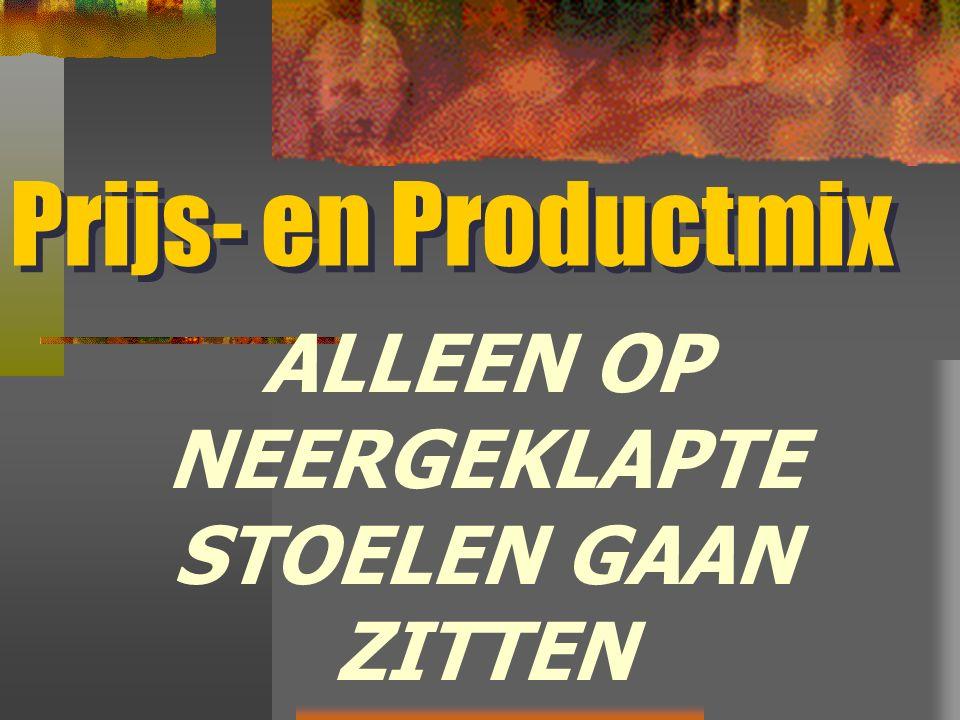 Prijs- en Productmix ALLEEN OP NEERGEKLAPTE STOELEN GAAN ZITTEN