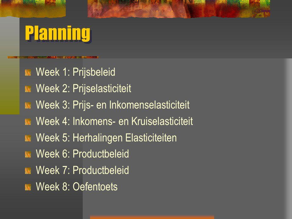 Planning Week 1: Prijsbeleid Week 2: Prijselasticiteit Week 3: Prijs- en Inkomenselasticiteit Week 4: Inkomens- en Kruiselasticiteit Week 5: Herhalingen Elasticiteiten Week 6: Productbeleid Week 7: Productbeleid Week 8: Oefentoets