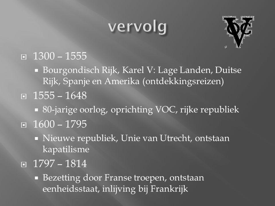  1300 – 1555  Bourgondisch Rijk, Karel V: Lage Landen, Duitse Rijk, Spanje en Amerika (ontdekkingsreizen)  1555 – 1648  80-jarige oorlog, oprichti