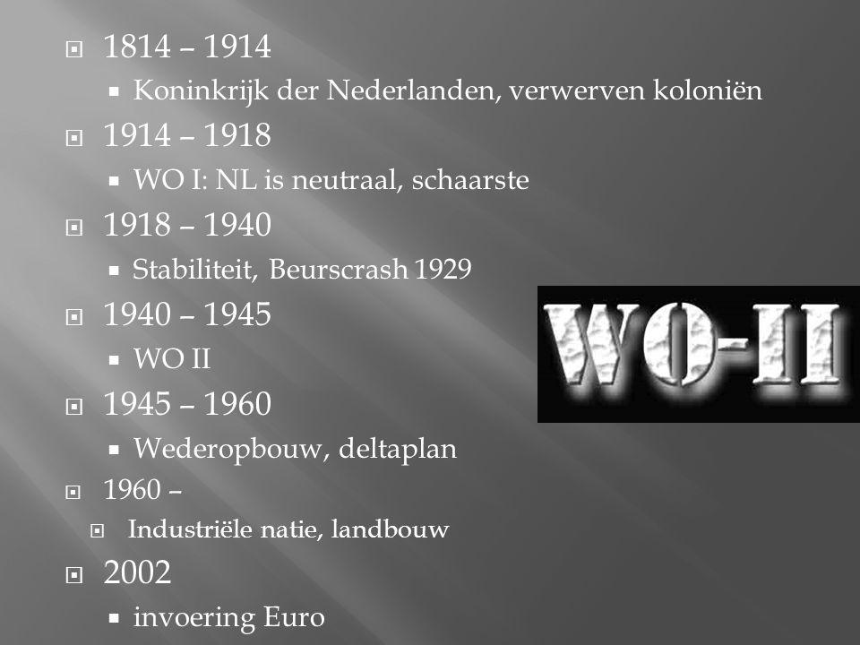  1814 – 1914  Koninkrijk der Nederlanden, verwerven koloniën  1914 – 1918  WO I: NL is neutraal, schaarste  1918 – 1940  Stabiliteit, Beurscrash 1929  1940 – 1945  WO II  1945 – 1960  Wederopbouw, deltaplan  1960 –  Industriële natie, landbouw  2002  invoering Euro