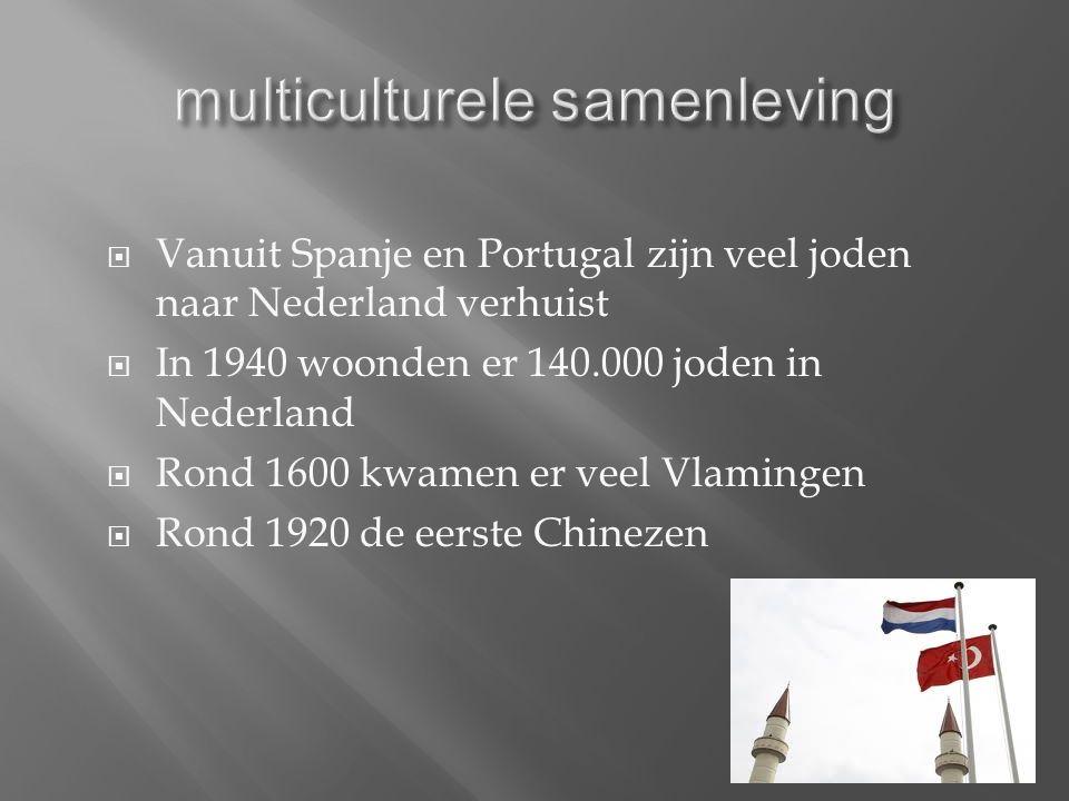  Vanuit Spanje en Portugal zijn veel joden naar Nederland verhuist  In 1940 woonden er 140.000 joden in Nederland  Rond 1600 kwamen er veel Vlamingen  Rond 1920 de eerste Chinezen