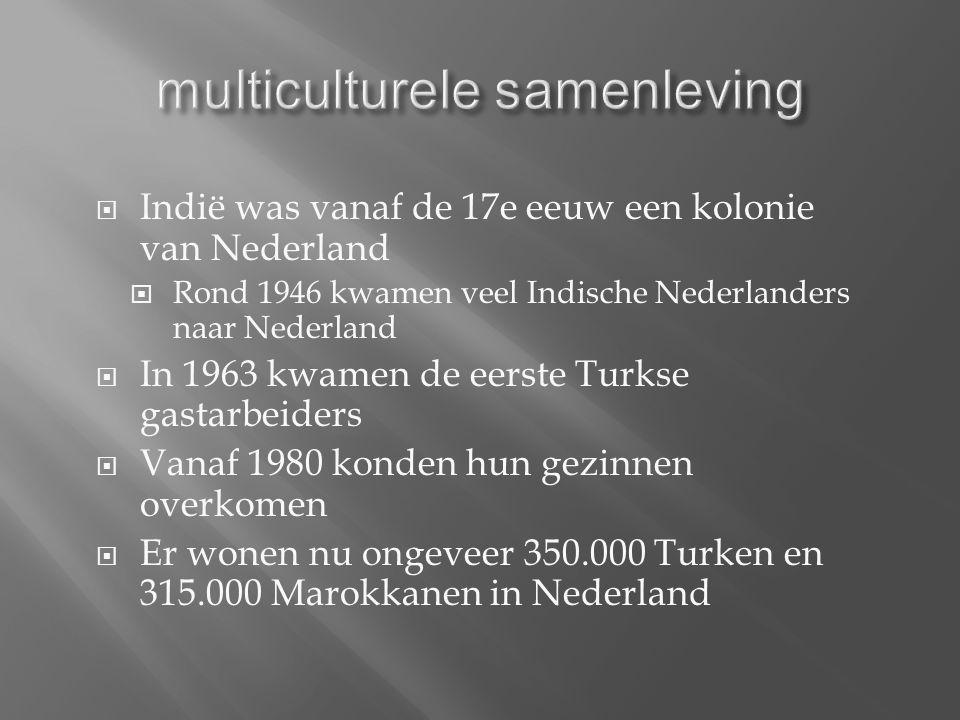  Indië was vanaf de 17e eeuw een kolonie van Nederland  Rond 1946 kwamen veel Indische Nederlanders naar Nederland  In 1963 kwamen de eerste Turkse gastarbeiders  Vanaf 1980 konden hun gezinnen overkomen  Er wonen nu ongeveer 350.000 Turken en 315.000 Marokkanen in Nederland