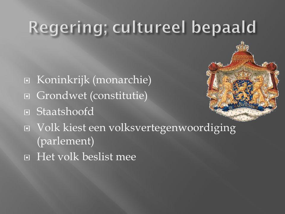  Koninkrijk (monarchie)  Grondwet (constitutie)  Staatshoofd  Volk kiest een volksvertegenwoordiging (parlement)  Het volk beslist mee