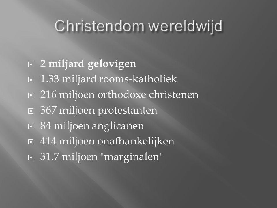  2 miljard gelovigen  1.33 miljard rooms-katholiek  216 miljoen orthodoxe christenen  367 miljoen protestanten  84 miljoen anglicanen  414 miljoen onafhankelijken  31.7 miljoen marginalen