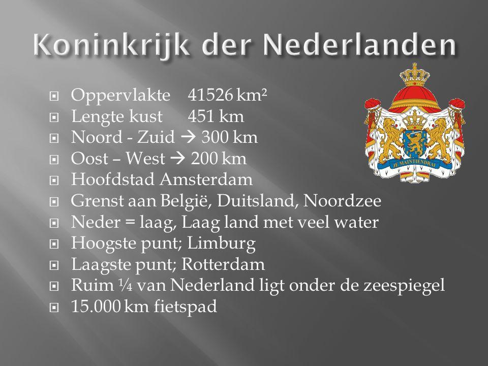  Oppervlakte 41526 km²  Lengte kust451 km  Noord - Zuid  300 km  Oost – West  200 km  Hoofdstad Amsterdam  Grenst aan België, Duitsland, Noordzee  Neder = laag, Laag land met veel water  Hoogste punt; Limburg  Laagste punt; Rotterdam  Ruim ¼ van Nederland ligt onder de zeespiegel  15.000 km fietspad