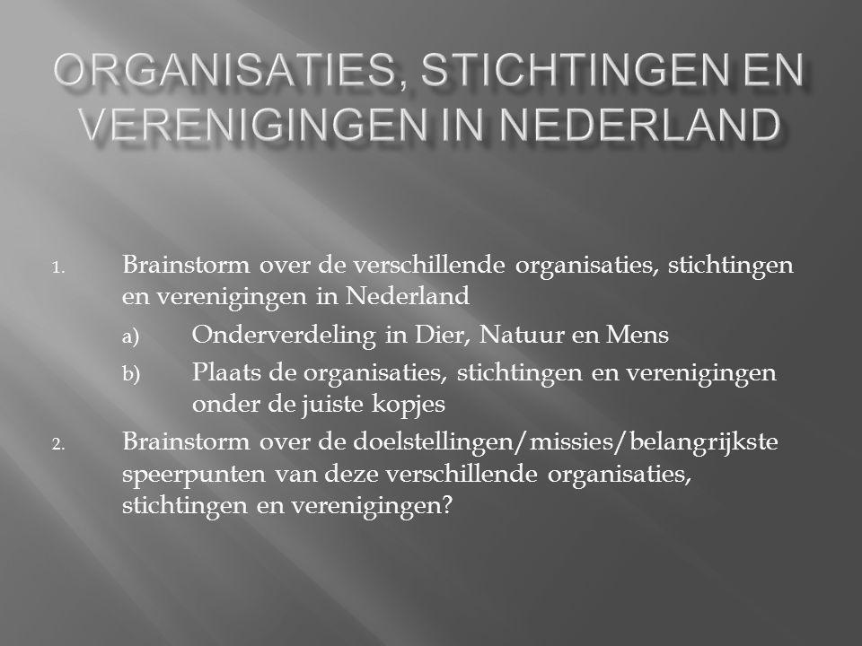 1. Brainstorm over de verschillende organisaties, stichtingen en verenigingen in Nederland a) Onderverdeling in Dier, Natuur en Mens b) Plaats de orga