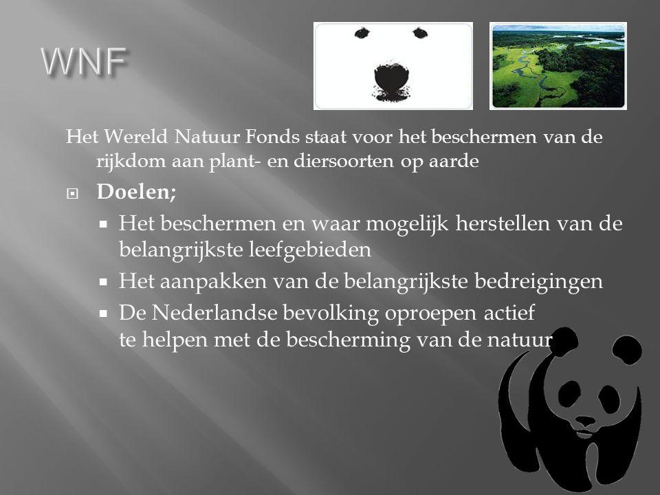 Het Wereld Natuur Fonds staat voor het beschermen van de rijkdom aan plant- en diersoorten op aarde  Doelen;  Het beschermen en waar mogelijk herstellen van de belangrijkste leefgebieden  Het aanpakken van de belangrijkste bedreigingen  De Nederlandse bevolking oproepen actief te helpen met de bescherming van de natuur