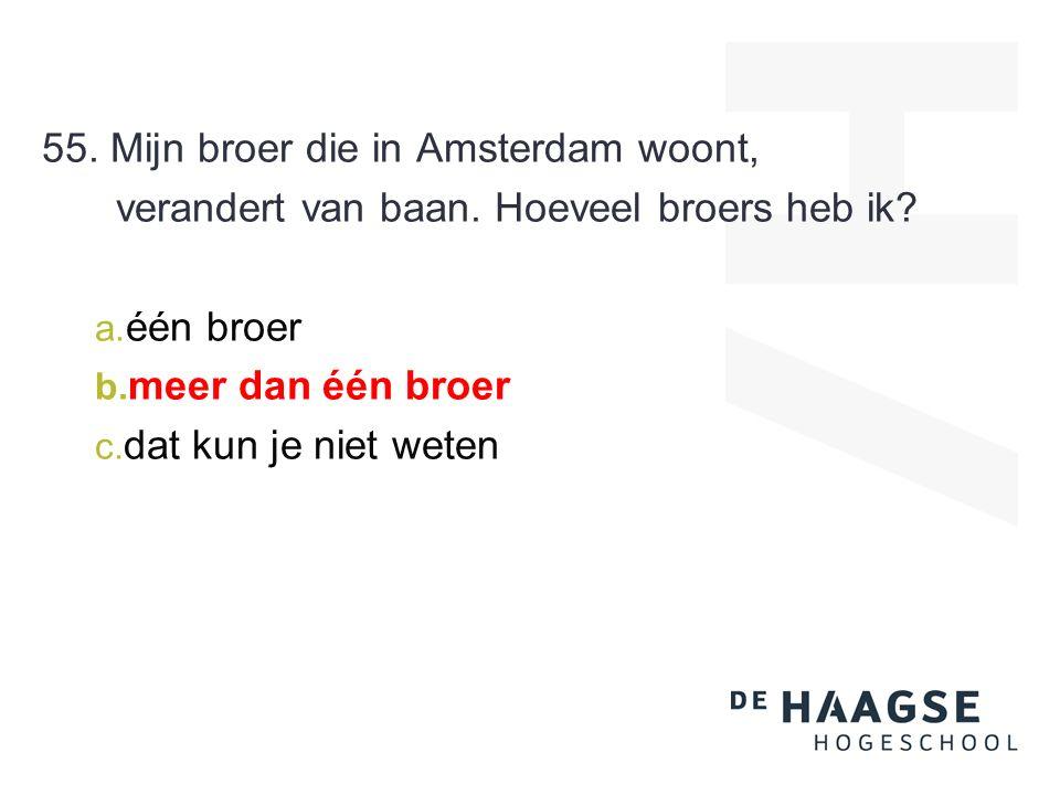 55. Mijn broer die in Amsterdam woont, verandert van baan.