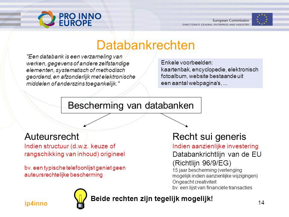 ip4inno 14 Een databank is een verzameling van werken, gegevens of andere zelfstandige elementen, systematisch of methodisch geordend, en afzonderlijk met elektronische middelen of anderszins toegankelijk. Databankrechten Enkele voorbeelden: kaartenbak, encyclopedie, elektronisch fotoalbum, website bestaande uit een aantal webpagina s,...