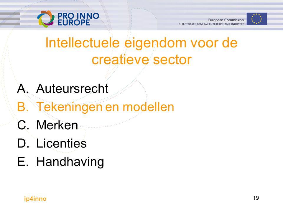 ip4inno 19 Intellectuele eigendom voor de creatieve sector A.Auteursrecht B.Tekeningen en modellen C.Merken D.Licenties E.Handhaving