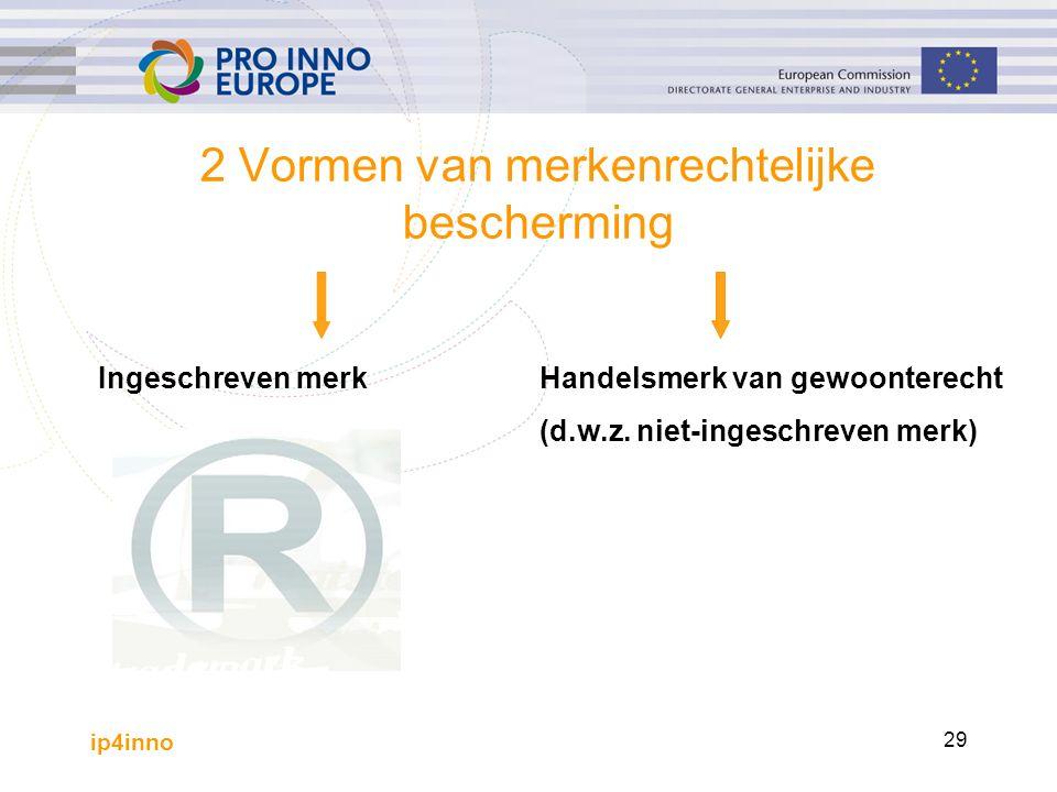 ip4inno 29 2 Vormen van merkenrechtelijke bescherming Ingeschreven merkHandelsmerk van gewoonterecht (d.w.z.