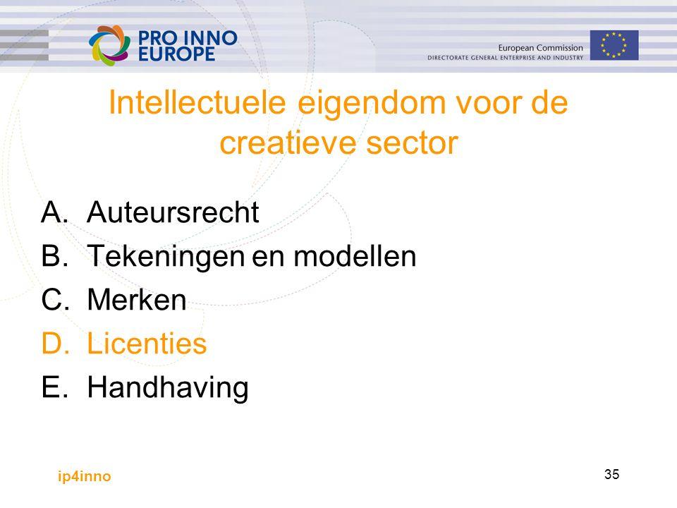 ip4inno 35 Intellectuele eigendom voor de creatieve sector A.Auteursrecht B.Tekeningen en modellen C.Merken D.Licenties E.Handhaving