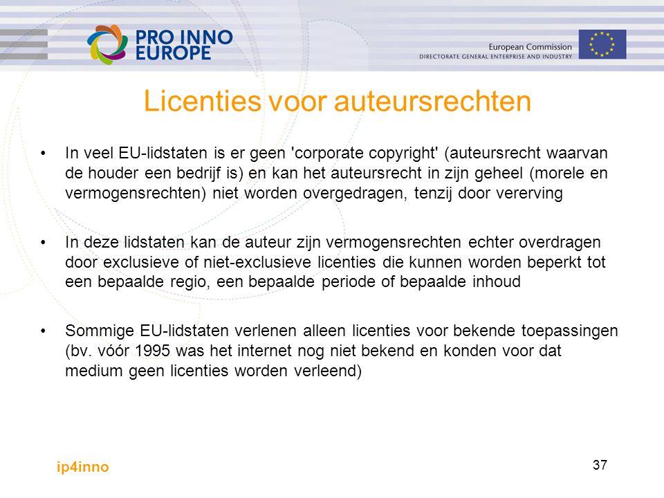ip4inno 37 Licenties voor auteursrechten In veel EU-lidstaten is er geen corporate copyright (auteursrecht waarvan de houder een bedrijf is) en kan het auteursrecht in zijn geheel (morele en vermogensrechten) niet worden overgedragen, tenzij door vererving In deze lidstaten kan de auteur zijn vermogensrechten echter overdragen door exclusieve of niet-exclusieve licenties die kunnen worden beperkt tot een bepaalde regio, een bepaalde periode of bepaalde inhoud Sommige EU-lidstaten verlenen alleen licenties voor bekende toepassingen (bv.