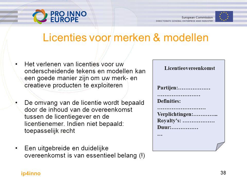 ip4inno 38 Licenties voor merken & modellen Het verlenen van licenties voor uw onderscheidende tekens en modellen kan een goede manier zijn om uw merk- en creatieve producten te exploiteren De omvang van de licentie wordt bepaald door de inhoud van de overeenkomst tussen de licentiegever en de licentienemer.