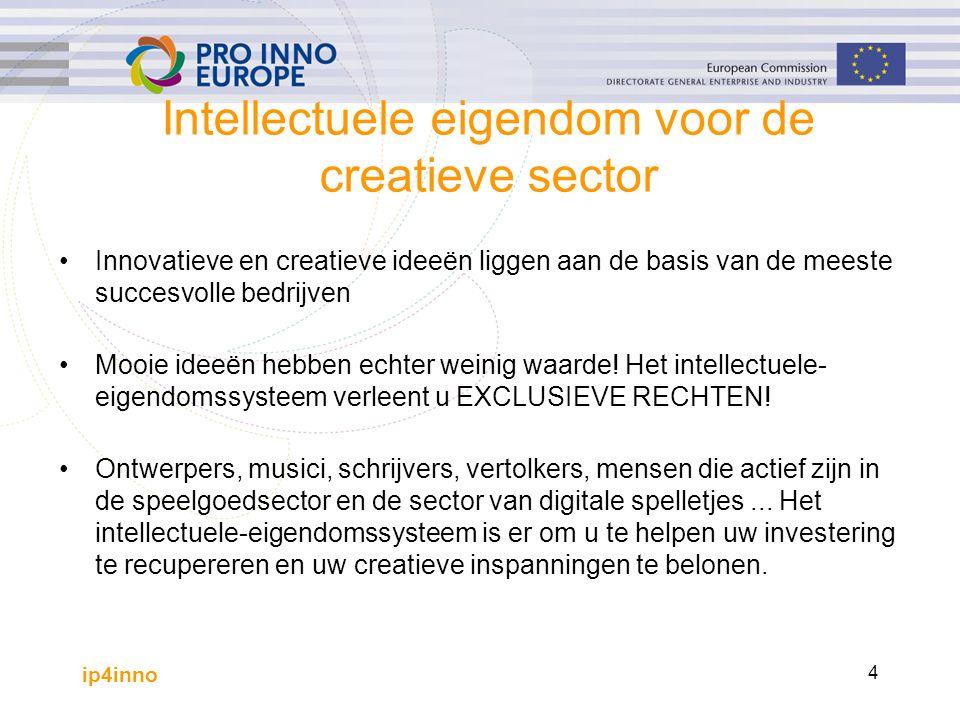 ip4inno 4 Intellectuele eigendom voor de creatieve sector Innovatieve en creatieve ideeën liggen aan de basis van de meeste succesvolle bedrijven Mooie ideeën hebben echter weinig waarde.
