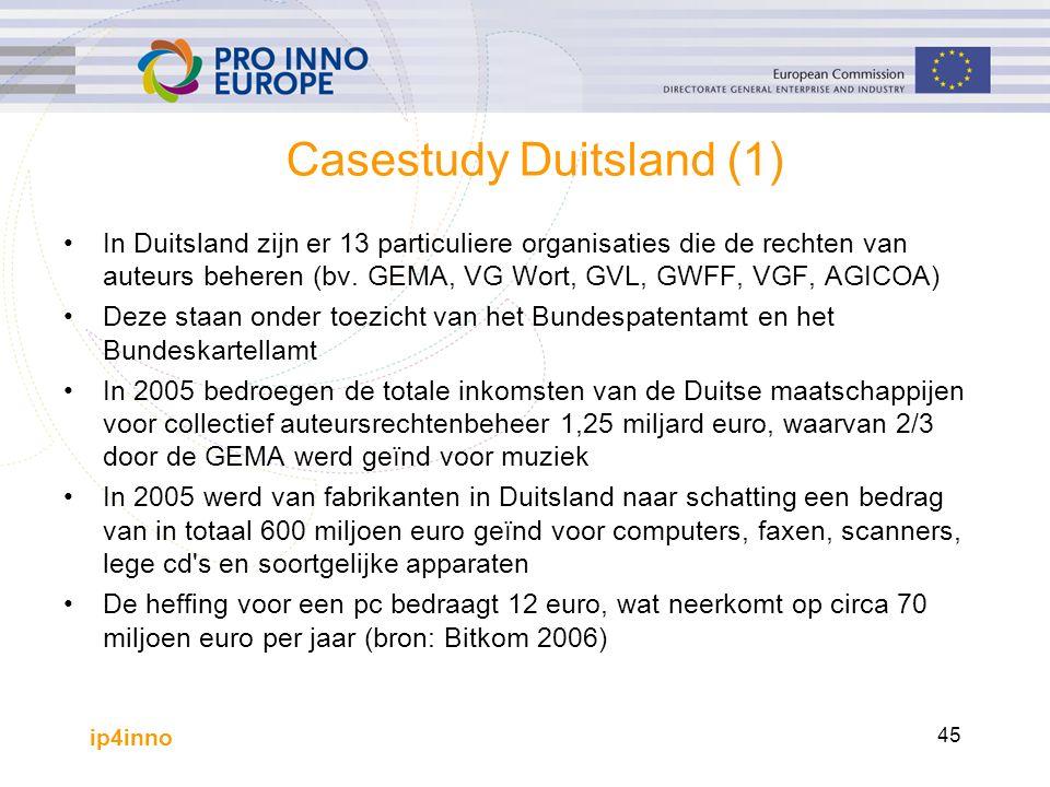 ip4inno 45 Casestudy Duitsland (1) In Duitsland zijn er 13 particuliere organisaties die de rechten van auteurs beheren (bv.