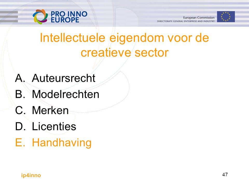 ip4inno 47 Intellectuele eigendom voor de creatieve sector A.Auteursrecht B.Modelrechten C.Merken D.Licenties E.Handhaving