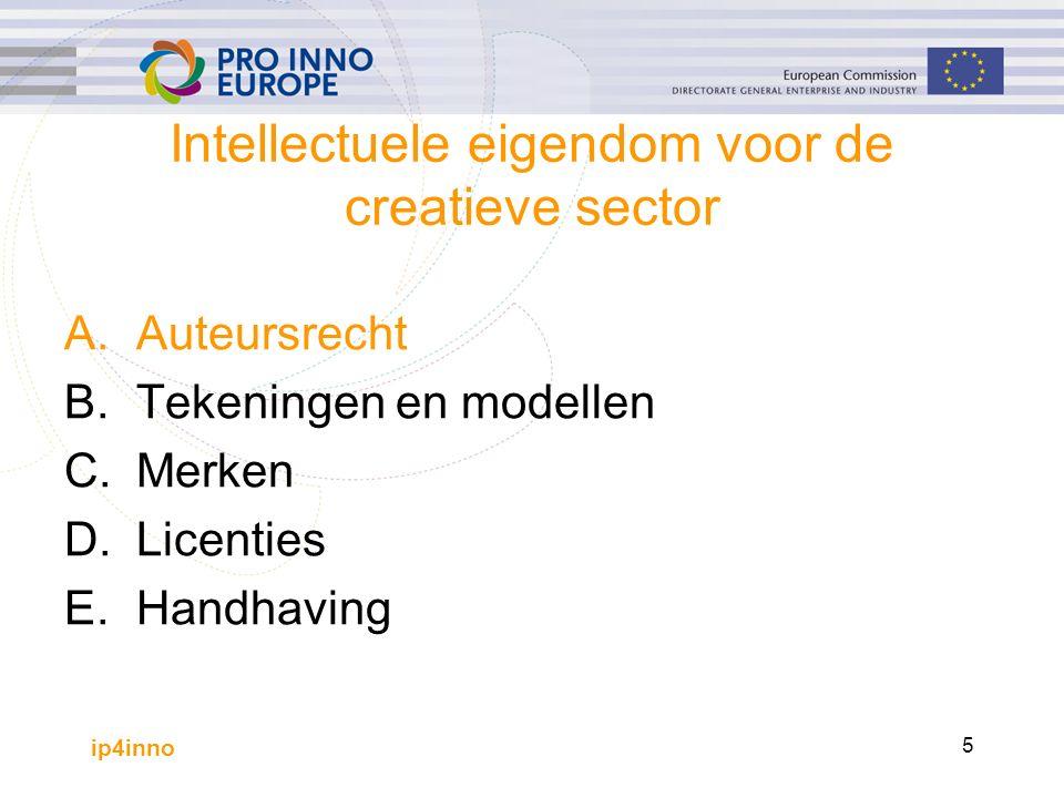 ip4inno 5 Intellectuele eigendom voor de creatieve sector A.Auteursrecht B.Tekeningen en modellen C.Merken D.Licenties E.Handhaving
