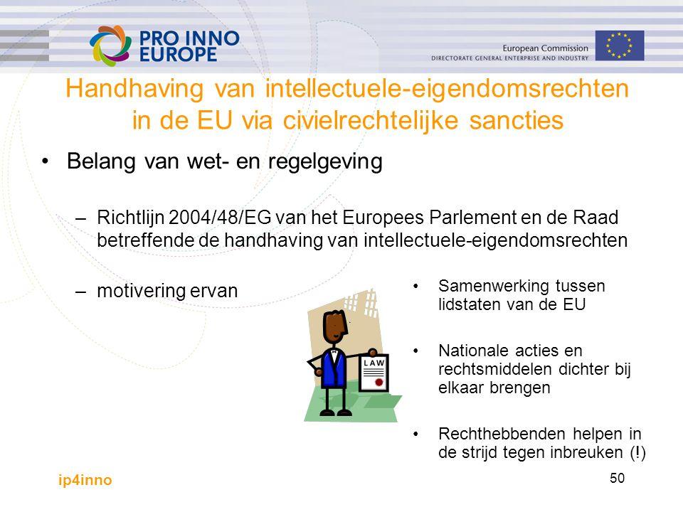 ip4inno 50 Handhaving van intellectuele-eigendomsrechten in de EU via civielrechtelijke sancties Belang van wet- en regelgeving –Richtlijn 2004/48/EG van het Europees Parlement en de Raad betreffende de handhaving van intellectuele-eigendomsrechten –motivering ervan Samenwerking tussen lidstaten van de EU Nationale acties en rechtsmiddelen dichter bij elkaar brengen Rechthebbenden helpen in de strijd tegen inbreuken (!)