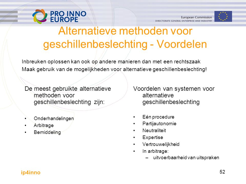 ip4inno 52 Alternatieve methoden voor geschillenbeslechting - Voordelen Inbreuken oplossen kan ook op andere manieren dan met een rechtszaak Maak gebruik van de mogelijkheden voor alternatieve geschillenbeslechting.