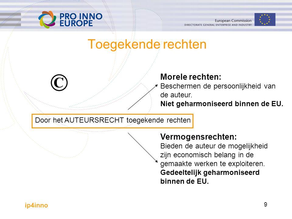 ip4inno 9 Toegekende rechten Door het AUTEURSRECHT toegekende rechten Vermogensrechten: Bieden de auteur de mogelijkheid zijn economisch belang in de gemaakte werken te exploiteren.