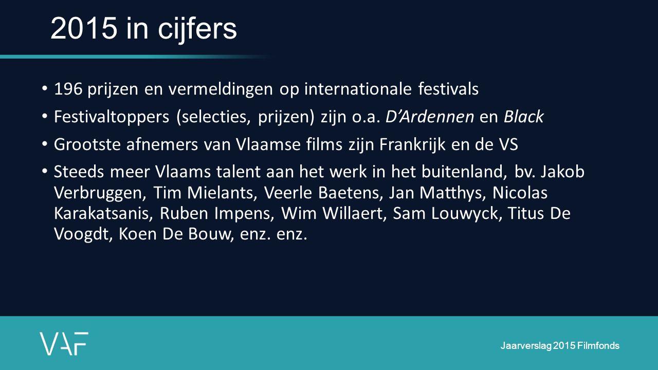 196 prijzen en vermeldingen op internationale festivals Festivaltoppers (selecties, prijzen) zijn o.a. D'Ardennen en Black Grootste afnemers van Vlaam