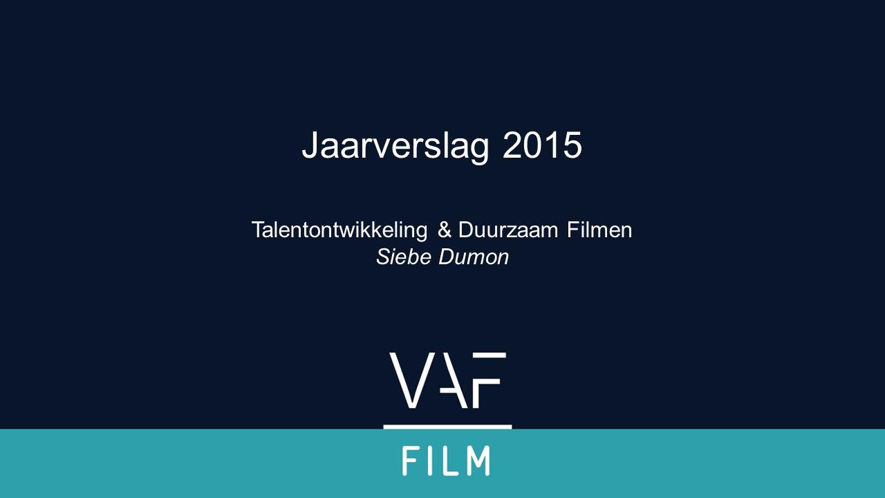 Talentontwikkeling Instrumentarium: uitgebreid, gevarieerd, sterk bevraagd Wildcards: 37 films in 2005 > 121 films in 2015 // mooie resultaten Scenarioatelier: 28 kandidaten in 2006 > 53 in 2015 (> 71 in 2016) De werkvloer op: 13 kandidaten in 2009 > 31 kandidaten in 2015 Onverminderd veel beursaanvragen Diversificatie 'steun aan opleidingsinitiatieven': meer FilmLab-initiatieven, aandacht voor nieuwe documentairevormen Partnerschappen met internationale opleidingsprogramma's: 6 in 2015, 18 VL dlns, diversiteit qua scope en doelgroep Komende jaren: storytelling Uitbreiding internationale partnerschappen: LIM en Film Garage sterkere link met Creatie Jaarverslag 2015 Filmfonds